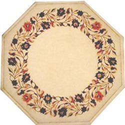 White Marble Table Top With Inlay Work