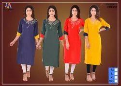 Casual Wear 3/4th Sleeve Trendy Embroidered Rayon Kurti, Machine wash