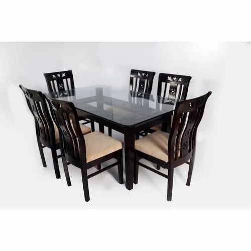 Rectangular Table Top Wooden Frame Glass Table Top Modern Wooden Glass Dining Table Set Rs 23500 Set Id 21979300562