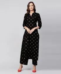 Black Printed 3/4th Sleeve Cotton Kurta With Printed Pallazo