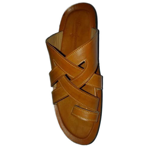 b1923293e7ca7 R.K. Leather Mens Brown Leather Slippers, Size: 6-10, Rs 450 /pair ...