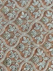 Embroidered 44-45 Georgette Fabric Work With Lazer Cut Gota And Mirror Work