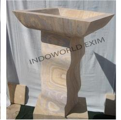 Curved Leg And Square Top Sandstone Bird Bath