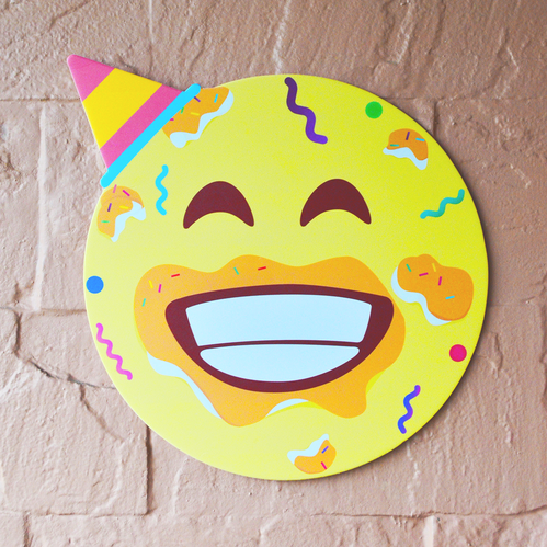 Yellow Birthday Cake Mash Emoji Postcard Size 12 Inch