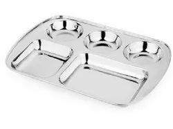 Stainless Steel Plate Food Tray Dinner Dish Compartment Restaurant 2,3,4,5 & 6 Compartment Plate