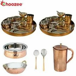 Choozee - Stainless Steel Copper Thali Set with Serveware & Hammered Pitcher Jug (29 Pcs)