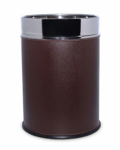 Deepanjable SS Leather Dustbin
