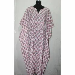 Indian Hand Block Printed Cotton Long Kaftan Dress