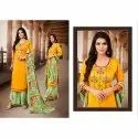 Ladies Satin Unstitched Embroidered Palazzo Suits