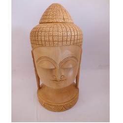 Wooden Carving Buddha Head Statue