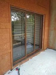 3 Track Wood Finish Aluminum Sliding Window
