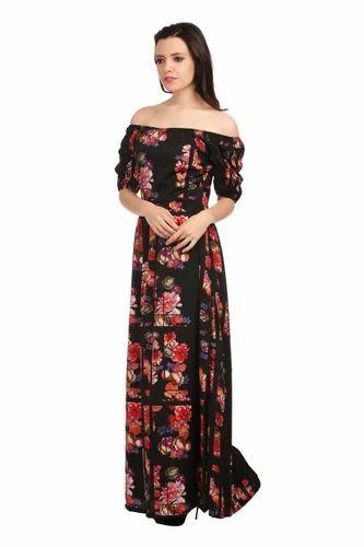 5af962198f Cotton Floral Print Off-Shoulder Maxi Dress, Rs 445 /piece | ID ...