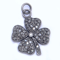 Pave Diamond 925 Sterling Silver Flower Pendant