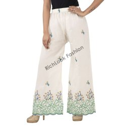 Cotton Chikan Palazzo For Ladies