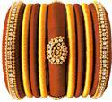 Brown And Golgen Silk Thread Bangles Set