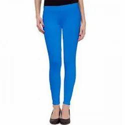 Blue Plain Cotton Legging Casual Wear Straight Fit