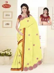 Dyed Georgette Embroidery work Saree with Lace - AAGYA 01