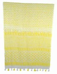 Yellow Hand Block Woman Fancy Stole Cotton Designer Scarf
