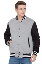 Grey Fleece Body With Black Sleeves Varsity - Men's