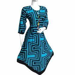 V Cut Rayon Embroidery Kurti