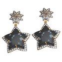 Party Snow Flake Obsidian Cz Pave Set Gemstone Earring