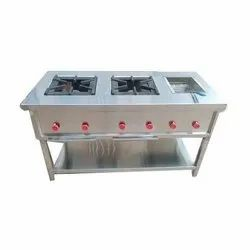 Two Burner Cooking Range With Deep Fryer
