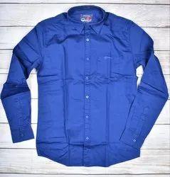 Cotton Collar Neck DJ Men Dobby Peach Shirts