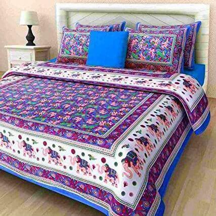 Attractive Cotton Sanganeri Printed Multicolor King Size Beds