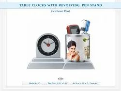 FSI Custom-Made Pen Holder with Table Clock, For Office, Shape: Round