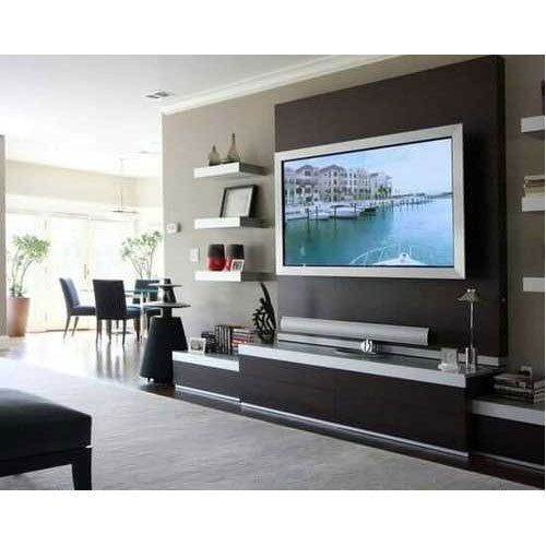 Modular Cabinets Living Room: Brown Modular LCD Panel Cabinet Wall Mounted, Rs 950