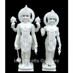 White Makrana Marble Laxmi Vishnu Statue