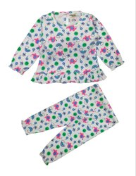 Baby Girl's Multi Coloured Freel Top With Full Pant