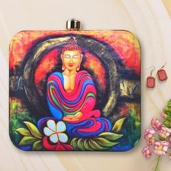 Colorful Buddha Printed Box Clutch