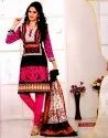 Casual Wear Printed Ladies Pink and Black Cotton Suit Fabric