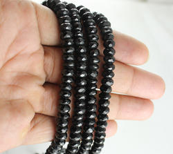 Black Spinel Roundel Faceted Beads