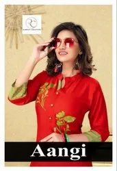 Aangi Casual Wear for Rayon With Embroidery Work With Printed Palazzo