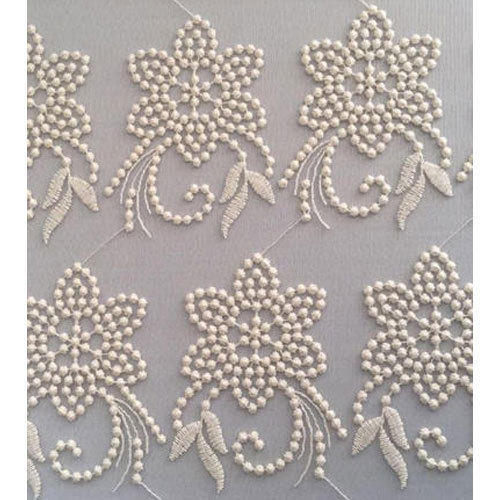White Embroidered Mesh Embroidery Fabric