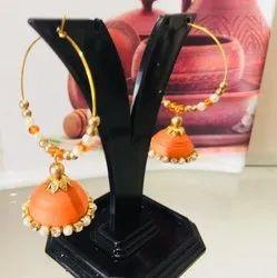 Stylish Jhumka In Orange Colour
