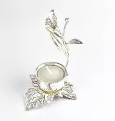 Flower Shaped Silver Tea Light Holder