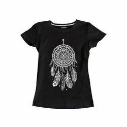 Women Black Cotton Printed T Shirt, Size: S to XXL