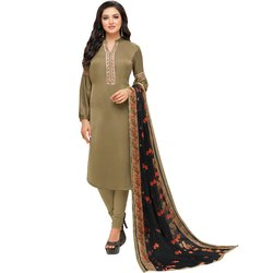 Rajnandini Olive Green Chanderi Silk Embroidered Semi-Stitched Dress Material With Printed Dupatta