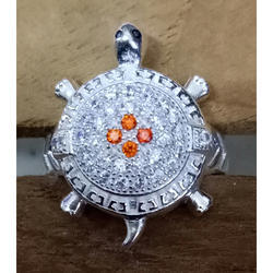 whait Fancy Kachua Silver Ring, Size: 25, Packaging Type: Box