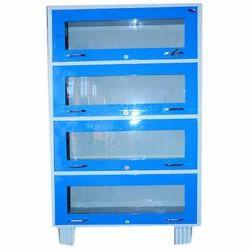 Stainless Steel Blue Library Almirah, Height: 6 feet