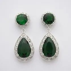 Green Quartz Pave Set Sterling Silver Earrings