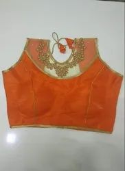 Orange Art Silk Readymade Blouse
