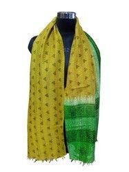 Women Hand Stitch Printed Kantha Silk Scarf / Scarve