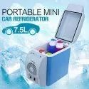 White & Blue Plastic Portable Electronic 7.5 Litres Cooling And Warming Refrigerator, For Car