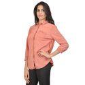 Cotton Full Sleeve Orange Ladies Surplus Shirt