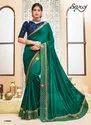 Designer Vichitra Silk With Hand Embroidery Patta Saree