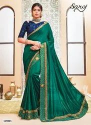 Designer Vichitra Silk With Hand Embroidery Patta Saree